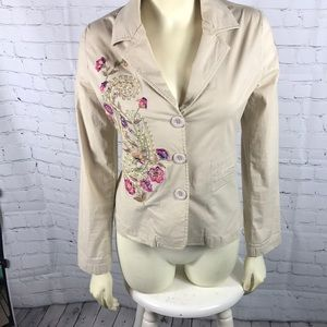Paparazzi Sm Tan Floral Embroidered Coat Paisley